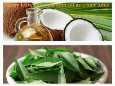 Curry leaves and coconut oil as a hair tonic